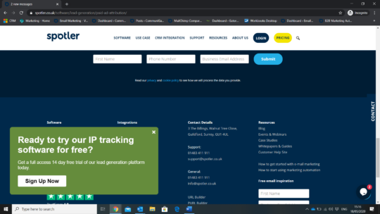 IP tracking popup